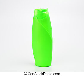 Green Plastic Bottle on a White Background