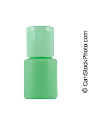 Green plastic bottle on white background