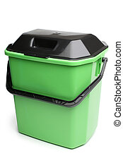 Green plastic bucket with lid