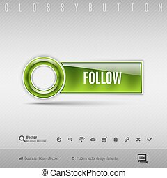 Green plastic button on the gray background. Vector design element.