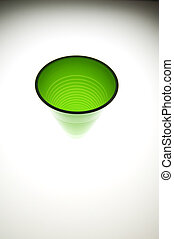 Green Plastic Cup - Empty plastic cup with mirrored...