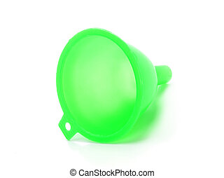 green plastic funnel isolated on white