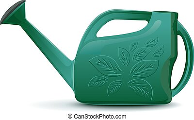 Green plastic garden watering can. Isolated illustration in...