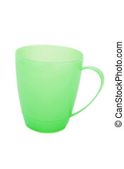 Green plastic glass of juice, isolated on a white background.