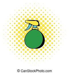 Green plastic spray bottle icon, comics style