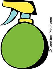 Green plastic spray bottle icon, icon cartoon