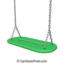 Green plastic swing with chains, 3d illustration, isolated...