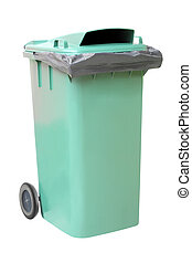 Green plastic waste container on white background.