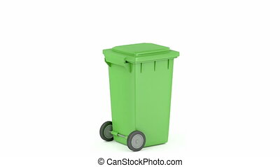 Green plastic waste container on white background