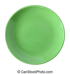 green plate isolated on white with clipping path