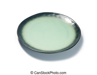Green Plate on white background
