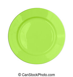 green plate on white