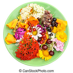 Green plate with Jule flowers - Green plate with Jule...