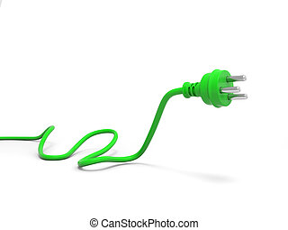 3d green plug isolated on white background