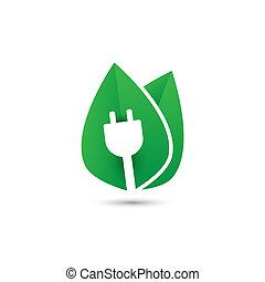 Green Plug Power. Eco energy concept icon