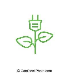 Green plug power icon.