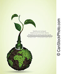 green plug with leaves and planet.