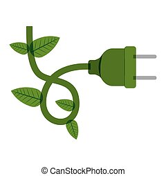 green plug with wired and leaves