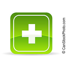 High resolution green plus icon on white background.