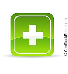 Green Plus Icon - High resolution green plus icon on white...