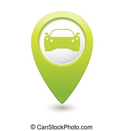 Green pointer with car icon. Vector