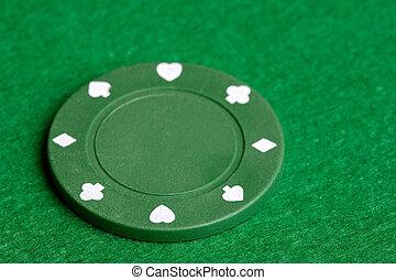 A green $25 pocker chip