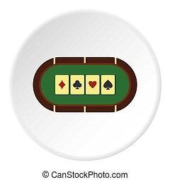 Green poker table icon circle