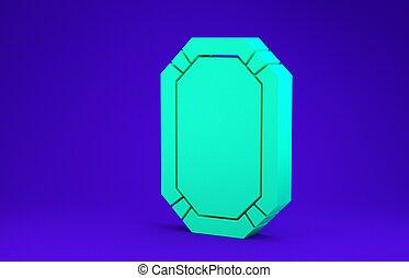 Green Poker table icon isolated on blue background. Minimalism concept. 3d illustration 3D render