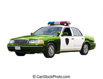 Green Police Car - A green police car isolated on a white...