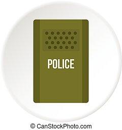 Green police riot shield icon circle