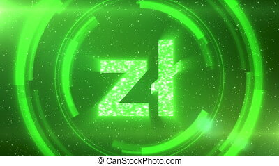Green Polish zloty currency symbol centered on a starscape background with HUD elements. Seamlessly loopable animation.