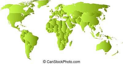 Green political map of World. Each state with own horizontal...