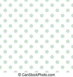 Green polka dots white background