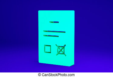 Green Poll document icon isolated on blue background. Minimalism concept. 3d illustration 3D render