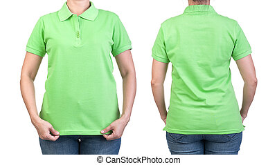 polo shirt - Green polo shirt with on a women on a white...