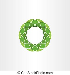 green polygon circle icon abstract background