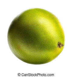 Green pomelo fruit isolated on white background.