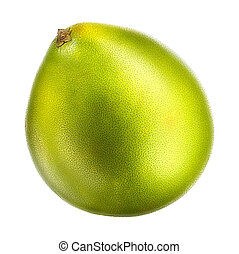 Green pomelo fruit isolated on white background