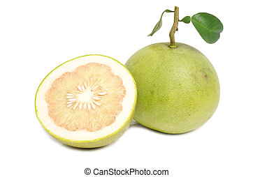 green pomelos isolated on white background