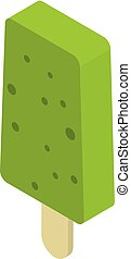 Green popsicle icon, isometric style