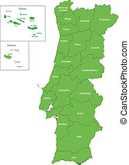 Green Portugal map - Administrative division of the...