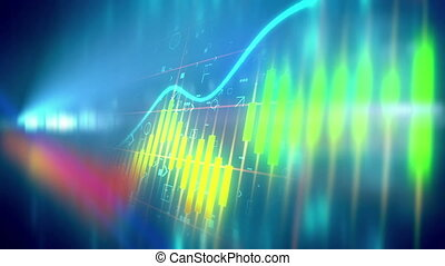 Green Positive trend of Candle stick graph chart
