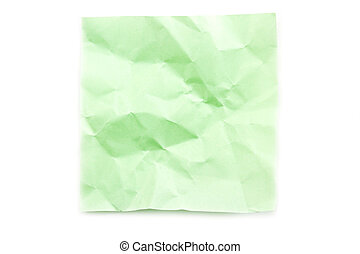 Green post-it note wrinkled