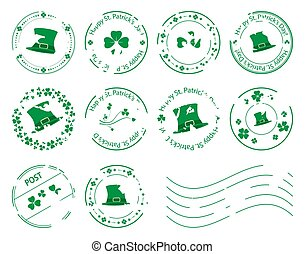 green postage stamps with clovers and hat for saint patrick day - grungy vector set