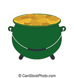 Green pot full of gold coins icon