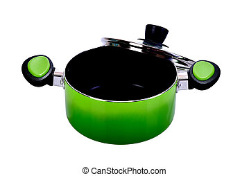 green pot on white background