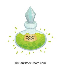 Green potion in a flask. Vector illustration on a white background.