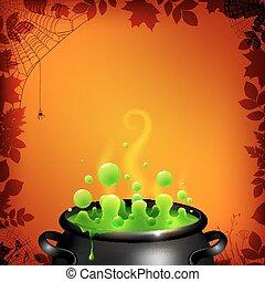 Green potion in black cauldron on orange background
