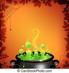 Green potion in black cauldron on orange background