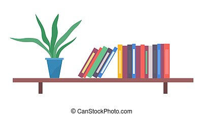 Green potted flower, shelf with colored folders, documents. Keep folders on shelf. Office furniture
